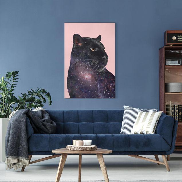 Leinwandbild - Jonas Loose - Panther mit Galaxie - Hochformat 3:2