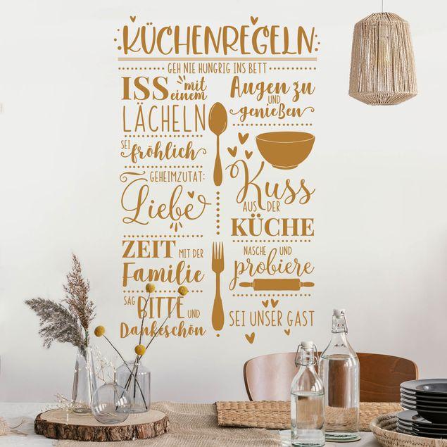 Wandtattoo - Küchenregeln mit viel Liebe