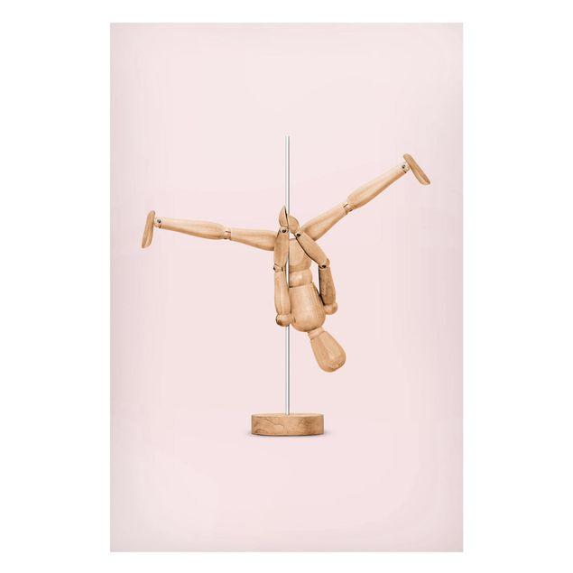 Magnettafel - Jonas Loose - Poledance mit Holzfigur - Memoboard Hochformat 3:2