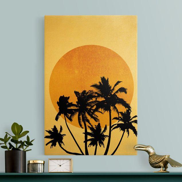 Leinwandbild Gold - Palmen vor goldener Sonne - Hochformat 2:3