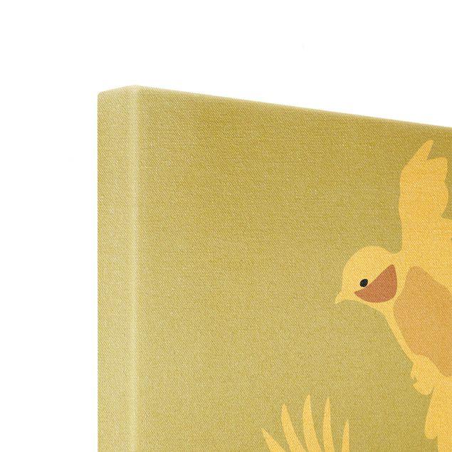Leinwandbild Gold - Line Art Tauben Pastell - Quadrat 1:1