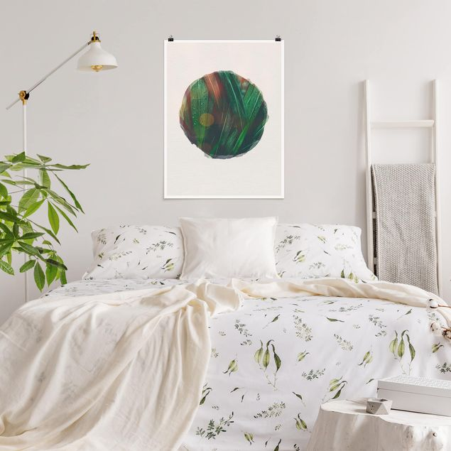 Poster - Wasserfarben - Grüne Palmenblätter - Hochformat 4:3