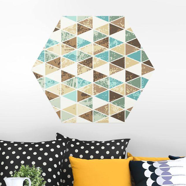 Hexagon Bild Alu-Dibond - Dreieck Rapportmuster
