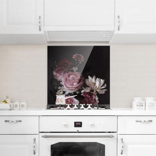 Glas Spritzschutz - Rosa Blumen auf Schwarz - Quadrat - 1:1