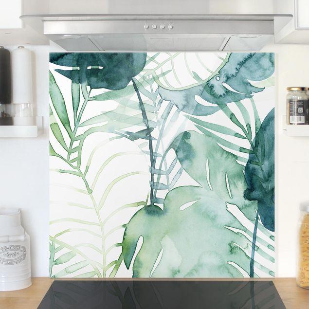 Glas Spritzschutz - Palmwedel in Wasserfarbe II - Quadrat - 1:1
