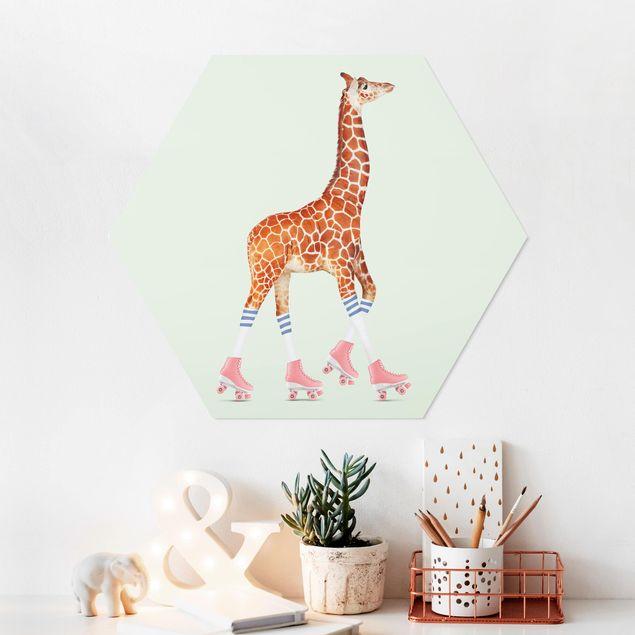 Hexagon Bild Forex - Jonas Loose - Giraffe mit Rollschuhen