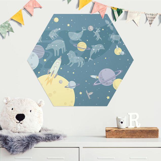 Hexagon Bild Alu-Dibond - Planeten mit Sternzeichen und Raketen
