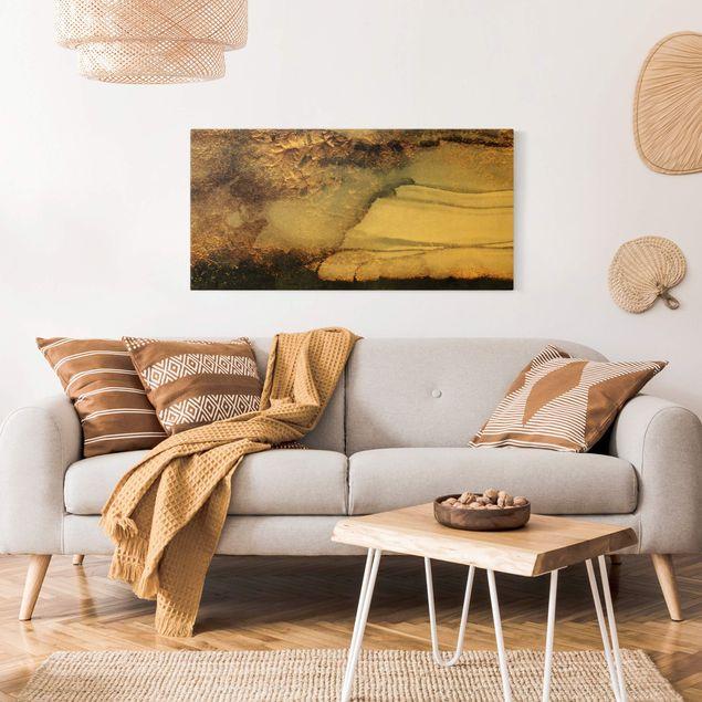 Leinwandbild Gold - Goldener Marmor gemalt - Querformat 2:1