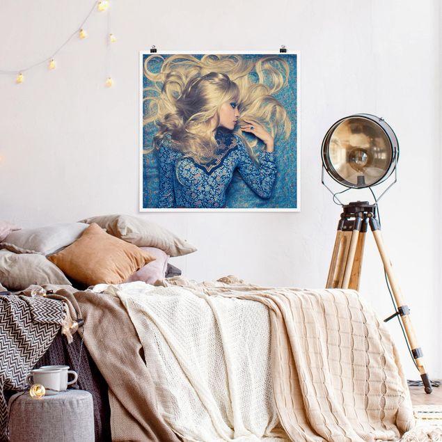 Poster - Hippiegirl in Blue - Quadrat 1:1