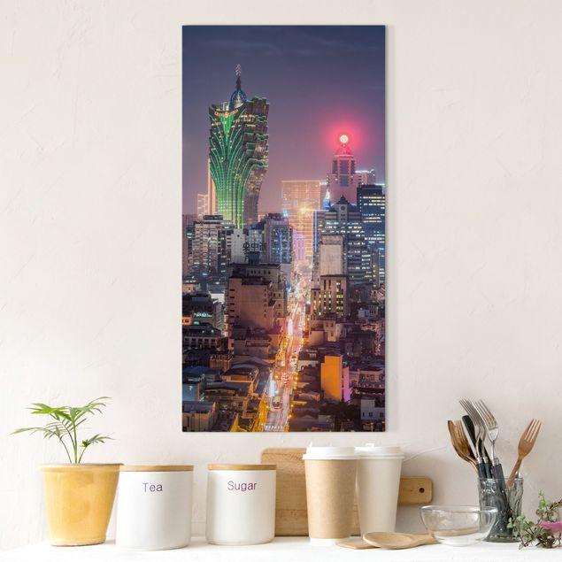 Leinwandbild - Nachtlichter von Macau - Hochformat 1:2