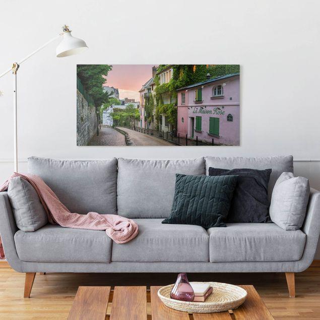 Leinwandbild - Rosa Dämmerung in Paris - Querformat 2:1