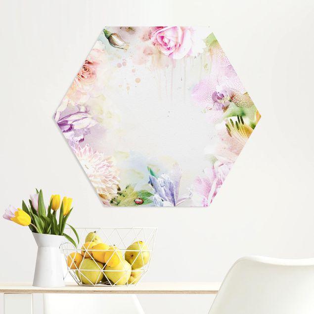 Hexagon Bild Forex - Aquarell Blütenmix Pastell