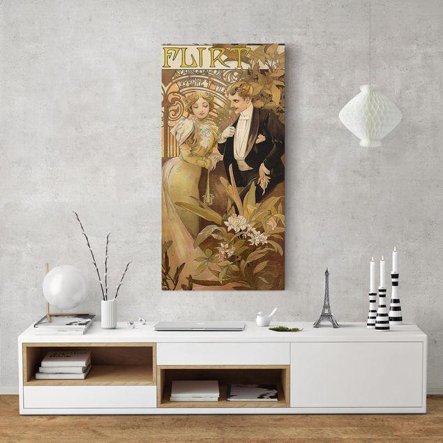 Leinwandbild - Alfons Mucha - Werbeplakat für Flirt Biscuits - Hochformat 2:1