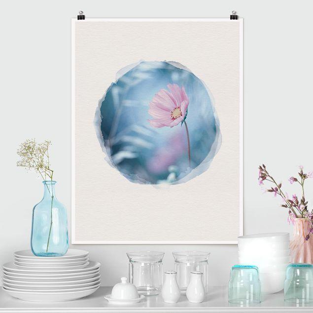 Poster - Wasserfarben - Blüte in Pastell - Hochformat 4:3
