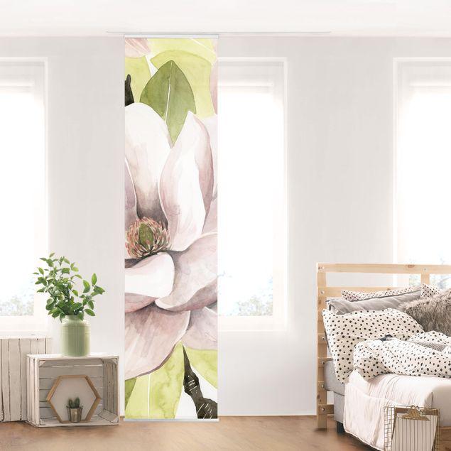 Schiebegardinen Set - Magnolie errötet I - Flächenvorhang