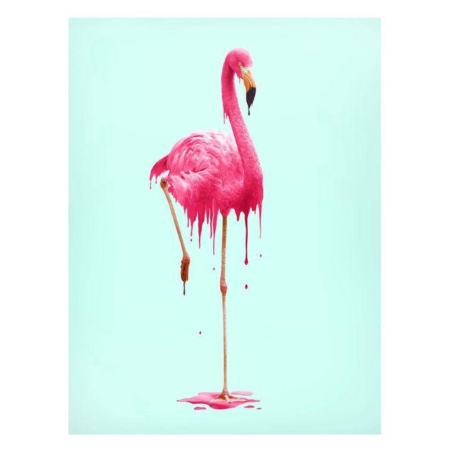 Magnettafel - Jonas Loose - Schmelzender Flamingo - Memoboard Hochformat 4:3