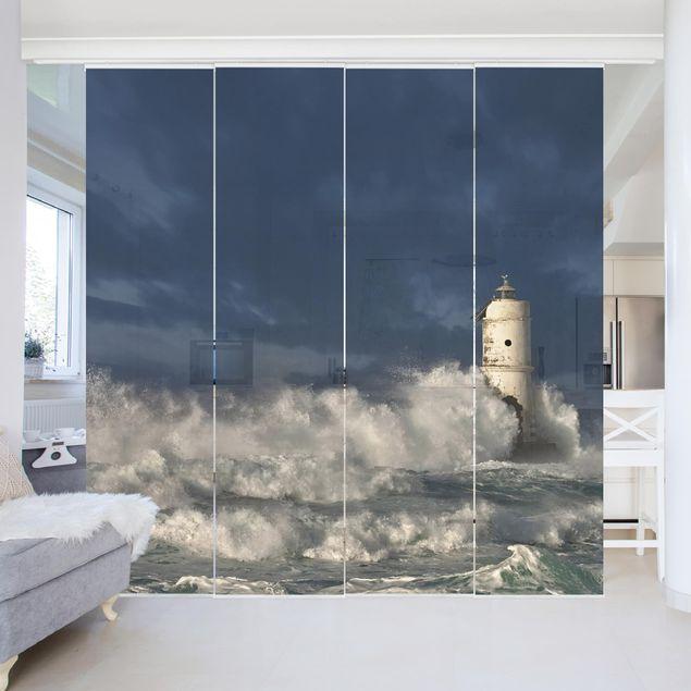 Schiebegardinen Set - Leuchtturm auf Sardinien - Flächenvorhänge