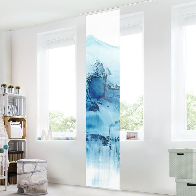 Schiebegardinen Set - Blaue Strömung II - Flächenvorhang