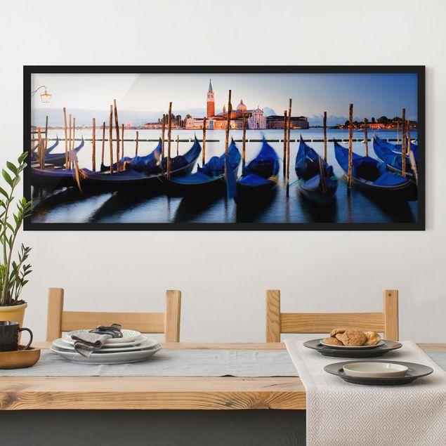 Bild mit Rahmen - Venice Gondolas - Panorama Querformat