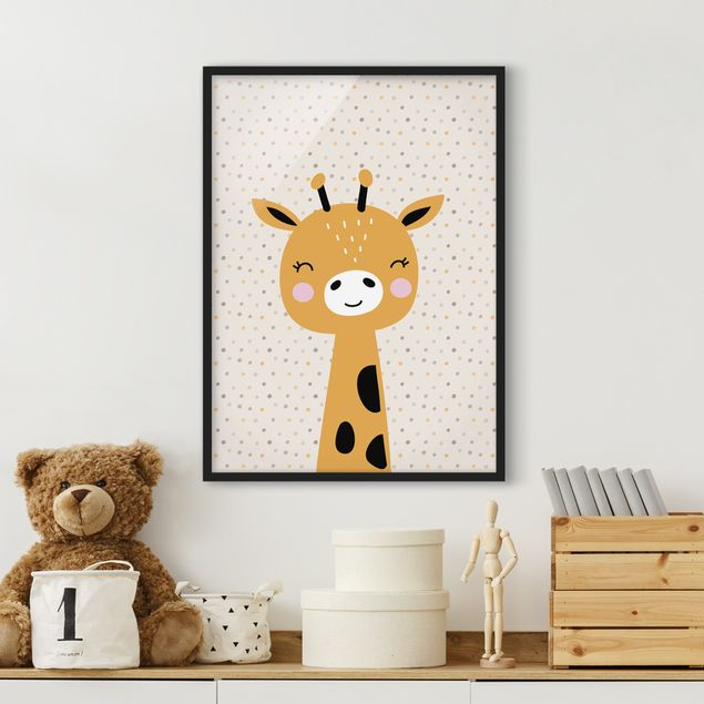 Bild mit Rahmen - Baby Giraffe - Hochformat 3:4