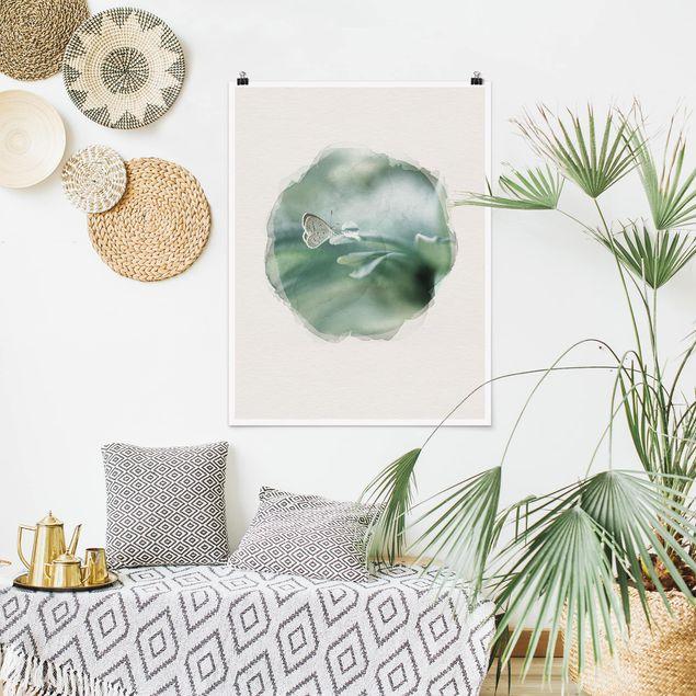 Poster - Wasserfarben - Schmetterling und Tautropfen in Pastellgrün - Hochformat 4:3
