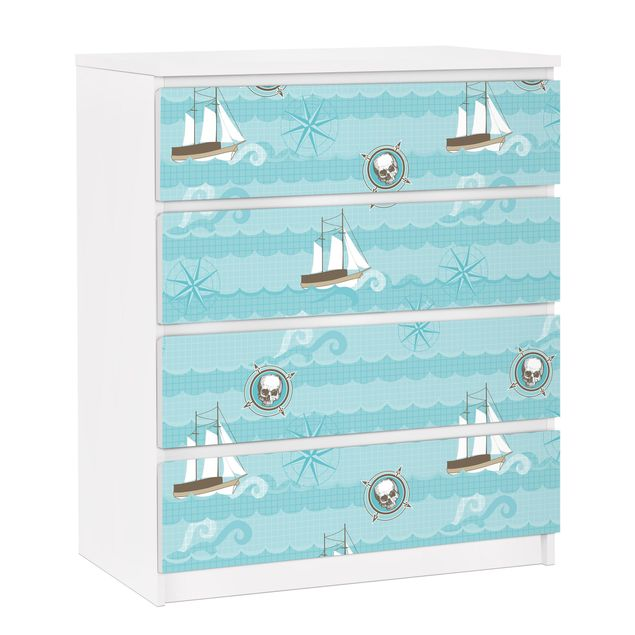 Möbelfolie für IKEA Malm Kommode - selbstklebende Folie Marine Ornament