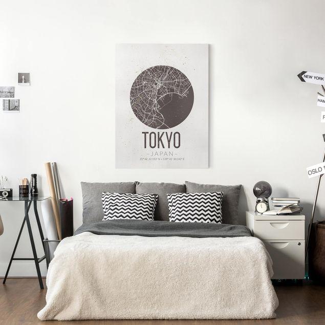 Leinwandbild - Stadtplan Tokyo - Retro - Hochformat 4:3