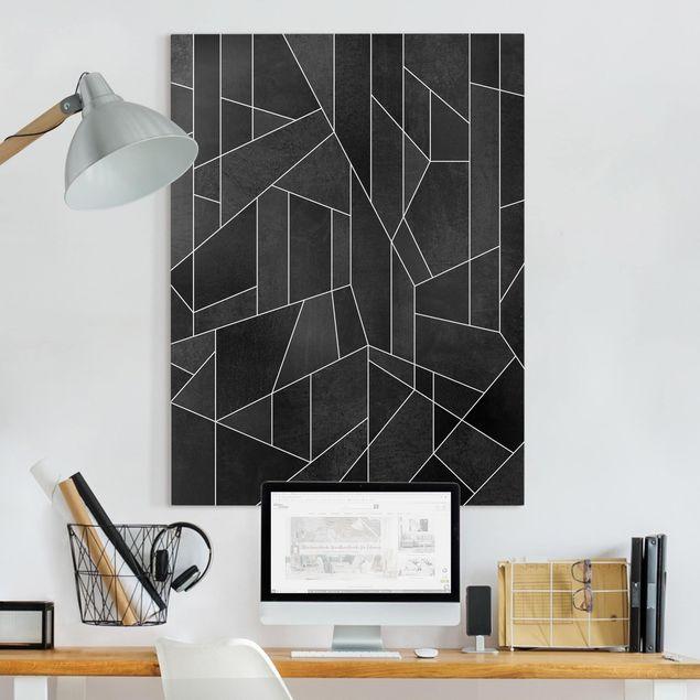 Leinwandbild - Schwarz Weiß Geometrie Aquarell - Hochformat 4:3