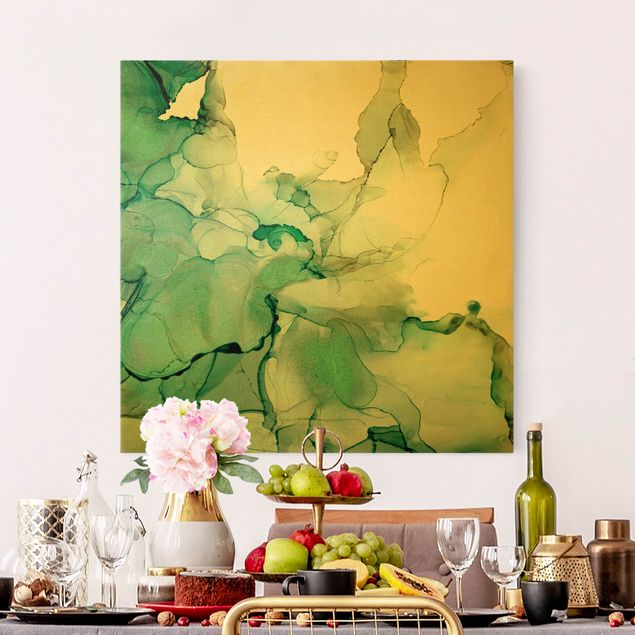 Leinwandbild Gold - Smaragdfarbener Sturm II - Quadrat 1:1