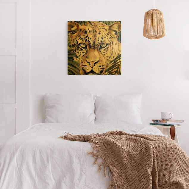 Leinwandbild Gold - Leopard im Dschungel - Quadrat 1:1