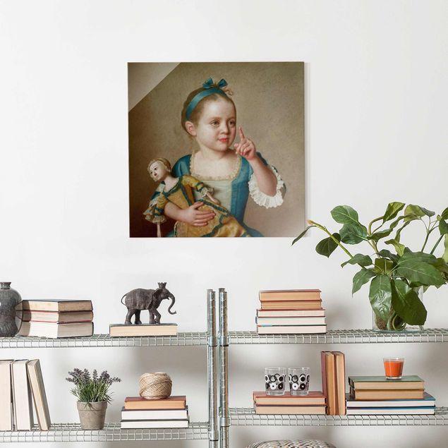 Glasbild - Jean Etienne Liotard - Mädchen mit Puppe - Quadrat 1:1