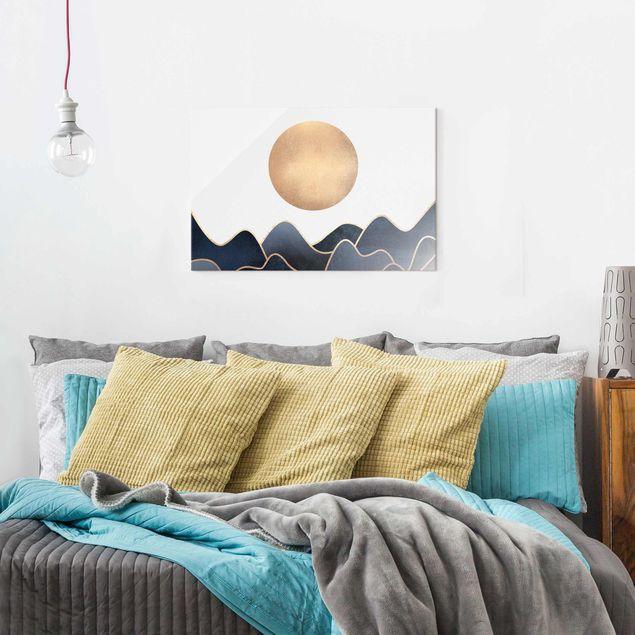 Glasbild - Goldene Sonne blaue Wellen - Querformat 2:3