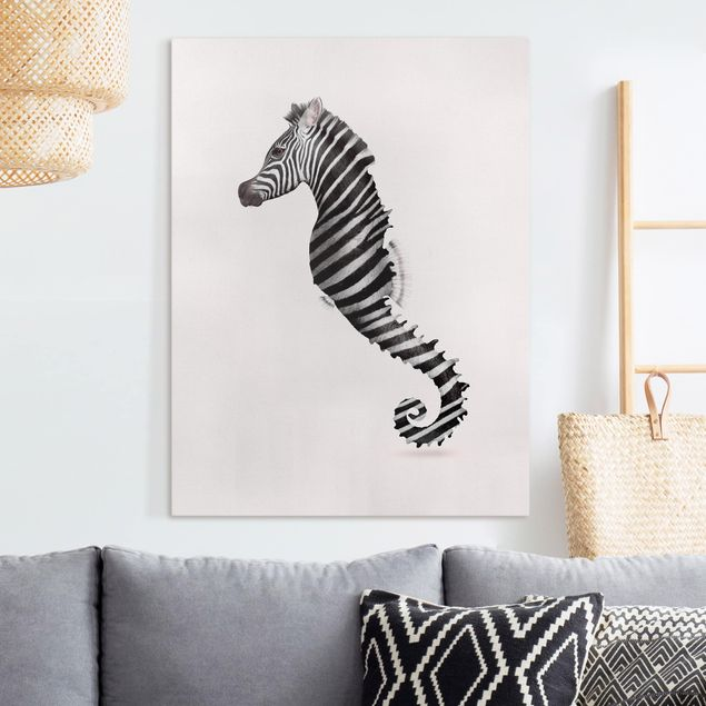Leinwandbild - Jonas Loose - Seepferdchen mit Zebrastreifen - Hochformat 4:3