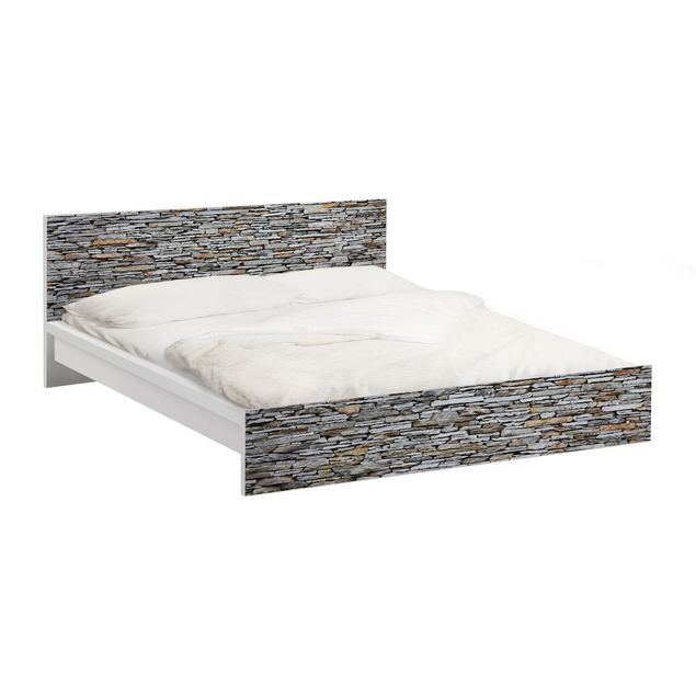 Möbelfolie für IKEA Malm Bett niedrig 160x200cm - Klebefolie Mallorca Stonewall