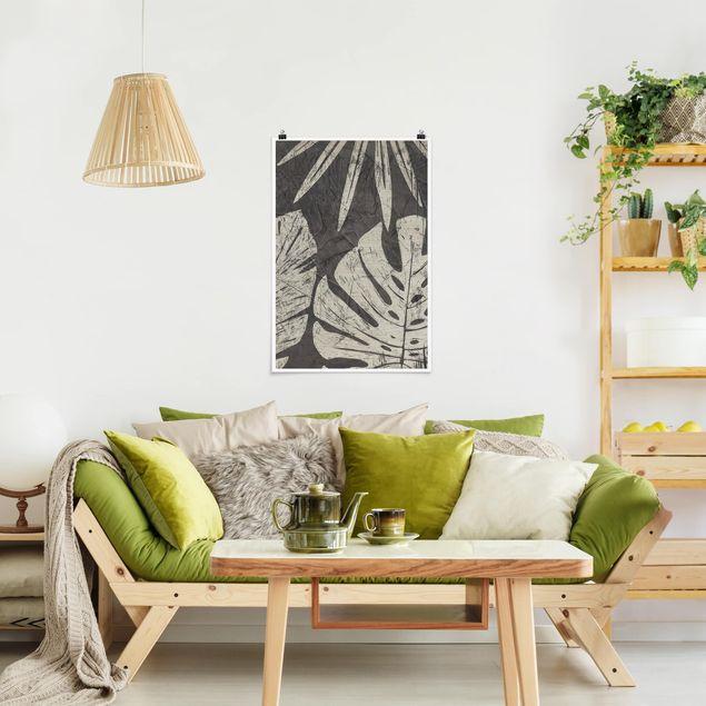 Poster - Palmenblätter vor Dunkelgrau - Hochformat 3:2