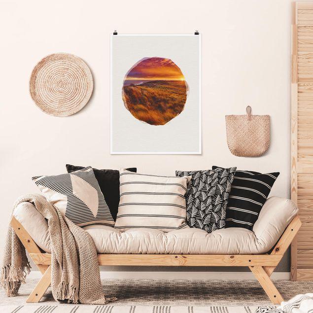 Poster - Wasserfarben - Sonnenaufgang am Strand auf Sylt - Hochformat 4:3