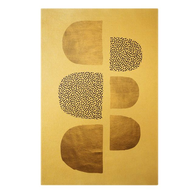 Leinwandbild Gold - Geometrischer Halbkreis III - Hochformat 2:3