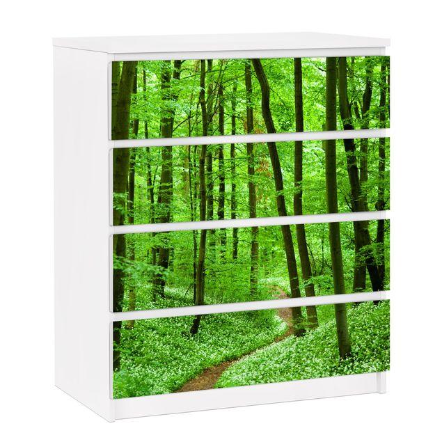 Möbelfolie für IKEA Malm Kommode - selbstklebende Folie Romantischer Waldweg