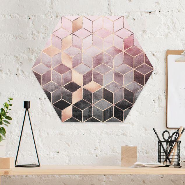 Hexagon Bild Forex - Rosa Grau goldene Geometrie
