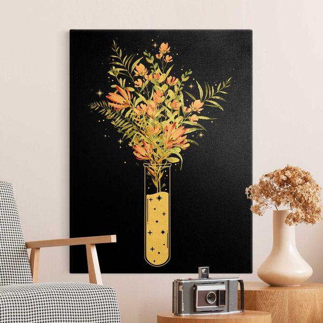 Leinwandbild Gold - Blumen im Reagenzglas - Hochformat 3:4