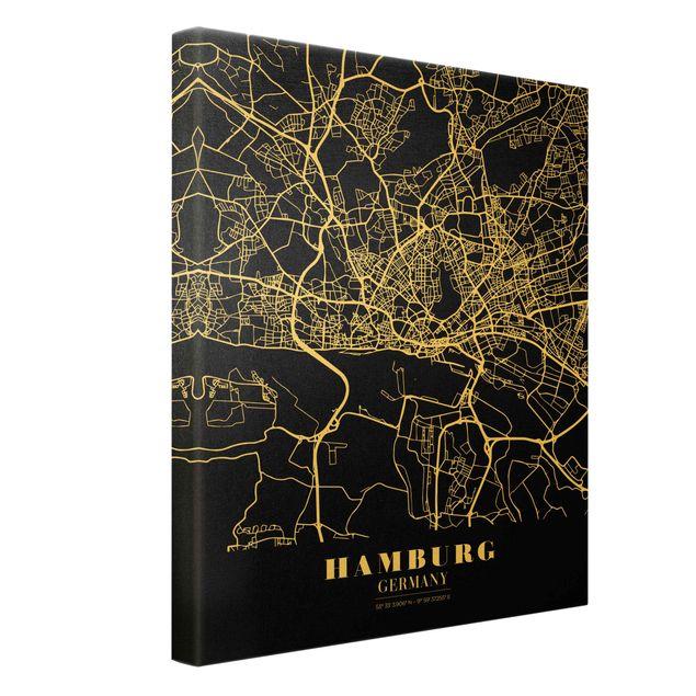 Leinwandbild Gold - Stadtplan Hamburg - Klassik Schwarz - Hochformat 3:4