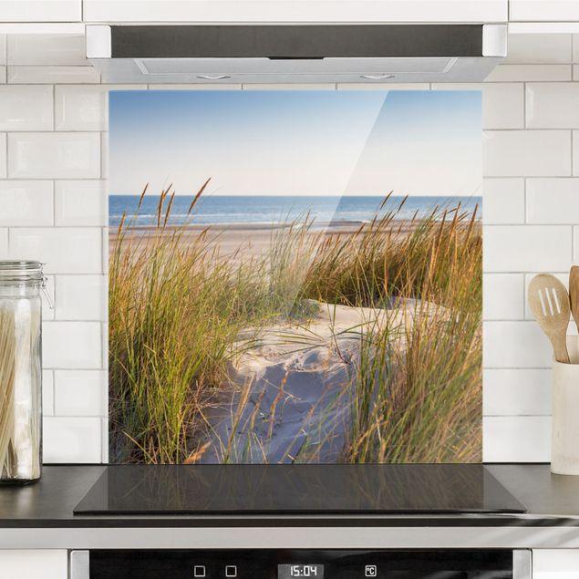 Glas Spritzschutz - Stranddüne am Meer - Quadrat - 1:1