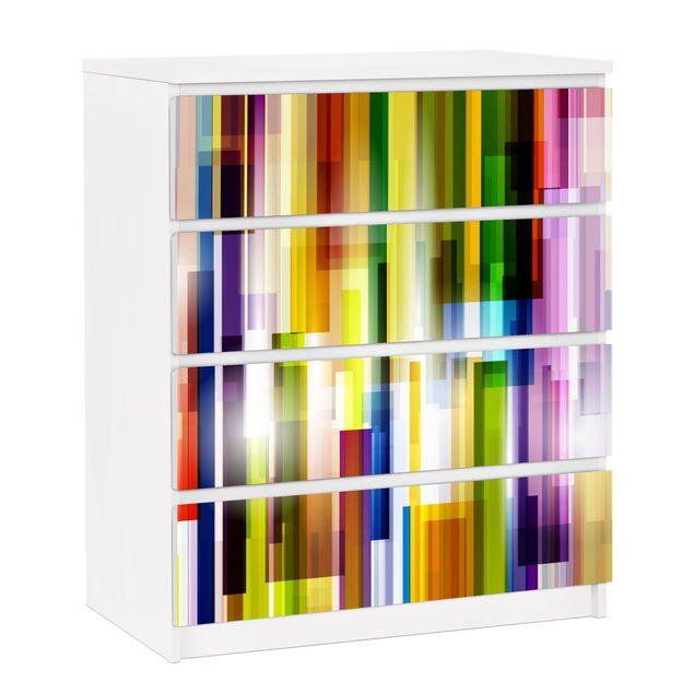 Möbelfolie für IKEA Malm Kommode - selbstklebende Folie Rainbow Cubes