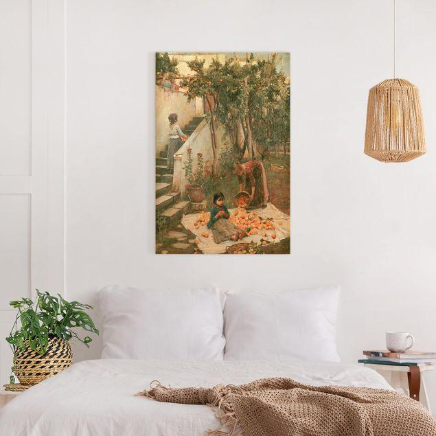 Leinwandbild - John William Waterhouse - Die Orangenpflücker - Hochformat 3:2