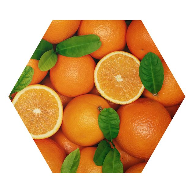 Hexagon Bild Alu-Dibond - Saftige Orangen