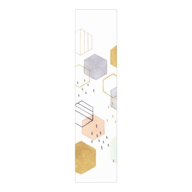 Schiebegardinen Set - Sechseckige Streuung I - Flächenvorhang