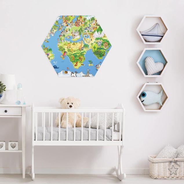Hexagon Bild Alu-Dibond - Great and funny Worldmap