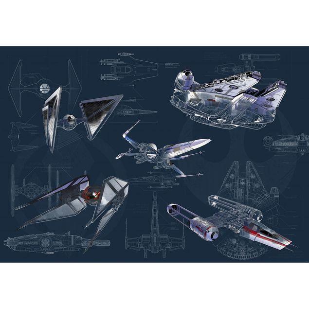 Disney Kindertapete - Star Wars Blueprint Dark - Komar Fototapete