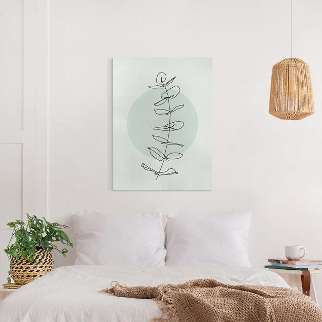 Leinwandbild - Zweig Geometrie Kreis Line Art - Hochformat 4:3