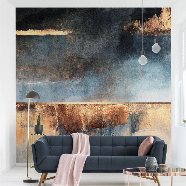 Fototapete - Abstraktes Seeufer in Gold - Fototapete Quadrat
